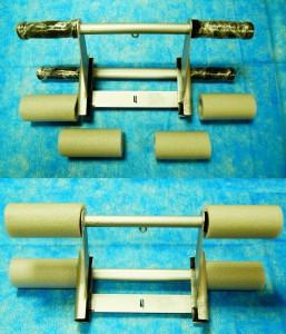 Мягкие, серые насадки на ручки профилактора Евминова, создадут комфортное занятие, когда задействуются  ноги.